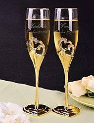 Personalized Toasting Flutes Gold Diamond Double Heart - Set of 2