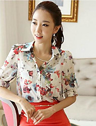 Women's Plus Size Print White/Red Blouse,Work Shirt Collar Long Sleeve