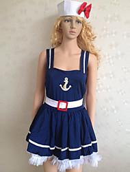 Azul Marinho Poliéster Vestido Sailor Uniform (2 peças)