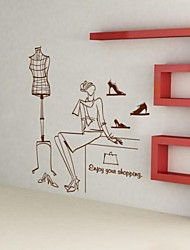 People Fashion Clothes Hanger Model Wall Stickers