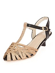 Women's Shoes Leatherette Summer T-Strap Party & Evening Cone Heel Buckle Silver / Gold