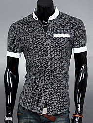 Lesen Men's Stand Collar Ethnic Print Fashion Casual Sim Short Sleeve Shirt O