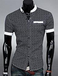 camisa de manga corta cuello alto de la moda estampado étnico de lesen hombres sim ocasional o