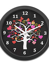 """16""""H Tree Of Love Style Metal Wall Clock With Black Side"""