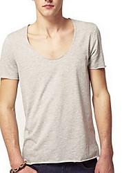 Herren T-shirt-Einfarbig Freizeit Baumwolle Kurz-Schwarz / Blau / Weiß / Gelb / Grau