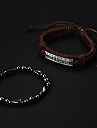 Goedkope Brown Leather Bracelet + Black Stone Needle Hologram Armband (2 stuks)