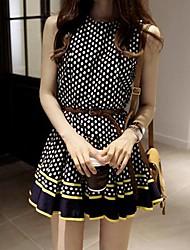 Женская волны Точка шифон Bodycon платье