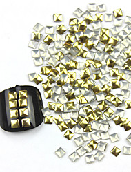300PCS 3D Golden Square Alloy Nail Art Golden & Silver Schmuck