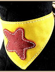 Canvas Yellow ser bordados con modelo de estrella del cuero genuino Bandana Collares de mascotas Los perros (tamaños surtidos)