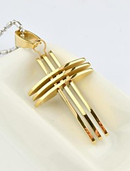 Fashion Men's  Gold/Silver/Color Gold Multilayer Cross Titanium Steel Pendant Necklace  Jewelry