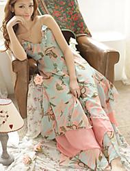 Women's Sexy / Cute Dress Maxi Sleeveless Multi-color Spring / Summer