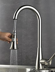 Contemporary Nickel Brushed Finish One Hole Single Handle Deck Mounted Rotatable Pullout Spray Brass Kitchen Faucet