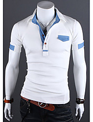 Debe Men's Lapel Neck Sheath Short Sleeve T-Shirt