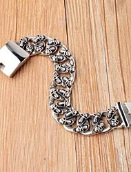 Antique Silver Skull Forme acier inoxydable 316L de chaîne de cru hommes de bracelet de câble
