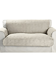 Waterproof Microsuede Beige Solid Cube Quilting Loveseat Cover