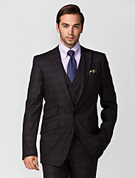 Black Polyester Tailored Fit Three-Piece Suit