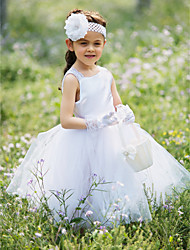 ELLIE'S BRIDAL Ball Gown Tea-length Flower Girl Dress - Satin Tulle Bateau with Lace Pleats