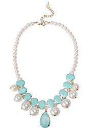 JANE STONE Shell Pearl Fashion Statement Necklace
