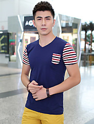 Fhonier Men's Royal Blue Stripe V Neck Short Sleeve T-Shirt