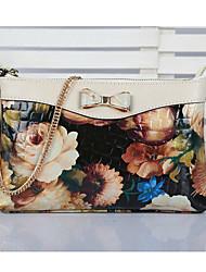 Mega Women's Fashion Floral Print Portable Leather Handbags