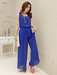 Michaela Chiffon Jumpsuit(Black,Royal Blue)-1086