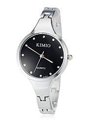 Mulheres Relógio de Moda Quartz Aço Inoxidável Banda Bracelete Prata marca-