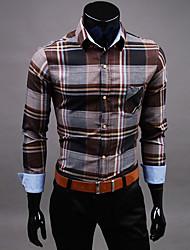 URUN Men's Casual Check Long Sleeve Shirt (Coffee)
