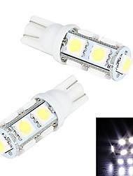 Merdia 5W 200LM T10 9x5050SMD светодиодных Белый Свет номерного знака / Инструмент лампа (2 PCS/12V)