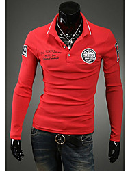 S & M Mannen Revers Hals Schede T-shirt Yf95 Red