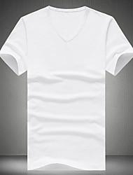 Herren T-shirt-Einfarbig Freizeit Baumwolle / Polyester Kurz-Schwarz / Blau / Grün / Rot / Weiß / Gelb / Grau