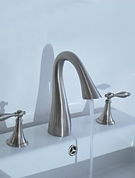 Contemporary Nickel Three Holes Two Handles Waterfall Bathroom Sink Faucet