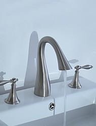 Contemporain Set de centre Deux poignées trois trous in Nickel brossé Robinet lavabo
