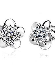 pendientes plateados s925 puros con diamantes de imitación