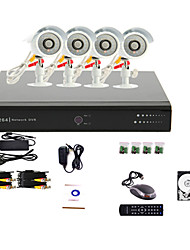 Sistema CCTV DVR 4 canali (4 telecamera warterproof esterno, controllo PTZ), hard disk da 500GB