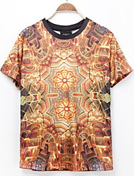 Men's Print Casual T-Shirt,Polyester Short Sleeve-Multi-color