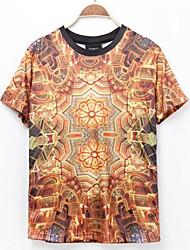 Herren T-shirt-Druck Freizeit Polyester Kurz-Mehrfarbig