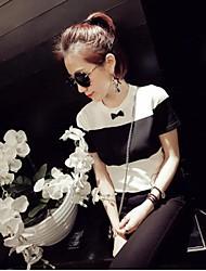 Mulheres Pequeno Arco fina preta e camiseta listrada branca