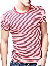 Été de U-requin hommes Casual col rond blanc rouge rayé de mode T-shirts Sauvegarde shirt EOZY