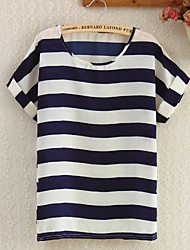 Women's Striped White/Navy Blue Blouse, Cute Round Neck Short Sleeve