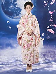 Japanese Girl Sakura Pattern Pink Polyester Women's Ethnic Costume
