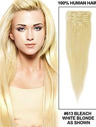 14061722 #613 Blonde Clip In Hair Extensions Human VIrgin Hair