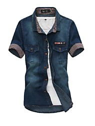 Mannen shirt Fashion High-Quality Corduroy Korte Mouw