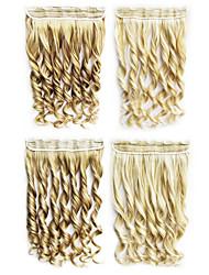 Alta Resistencia a la temperatura 55cm Largo Liso 5 Clip de Extensión Hairpiece 4 colores disponibles