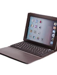 teclado bluetooth w / pu estuche de cuero para el ipad 4 del ipad 2 del ipad 3 (marrón)