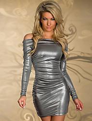 QSMX plata sexy con el vestido del club del hombro bodycon