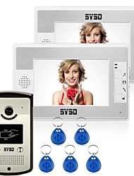 "7"" LCD Video Door Phone Doorbell Home Entry Intercom w RFID Reader 2 Monitors"