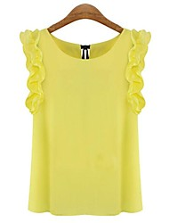 Women's Cute Summer Blouse,Solid Round Neck Sleeveless White / Yellow Thin