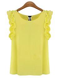 Women's Solid White/Yellow Shirt , Round Neck Sleeveless Ruffle