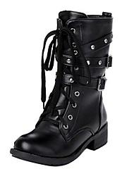Frauen Chunky Heel Lace Up Strap Martin Stiefel Schuhe