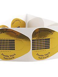 10PCS Golden Horseshoe Motif Nail Art Forms pour l'acrylique et le gel UV Conseils